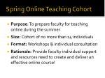 spring online teaching cohort