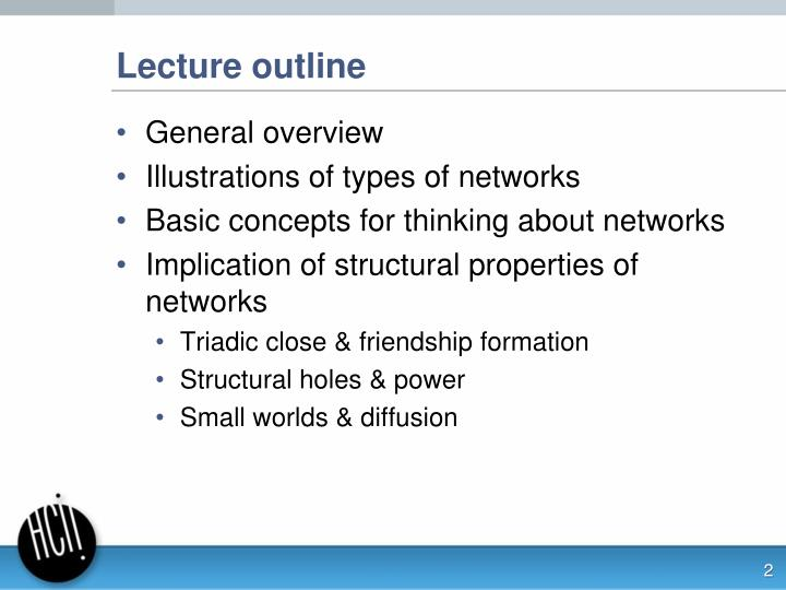 Lecture outline