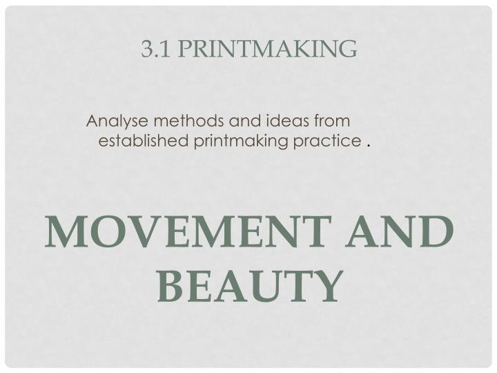 analyse methods and ideas from established printmaking practice n.