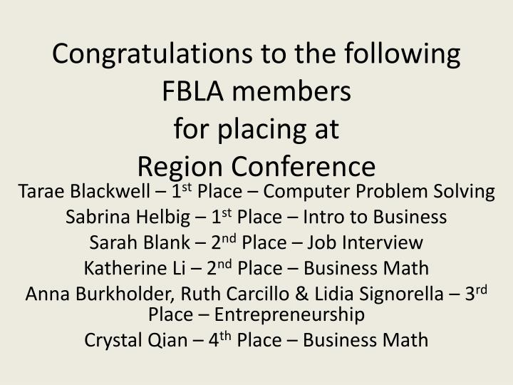 Congratulations to the following FBLA members