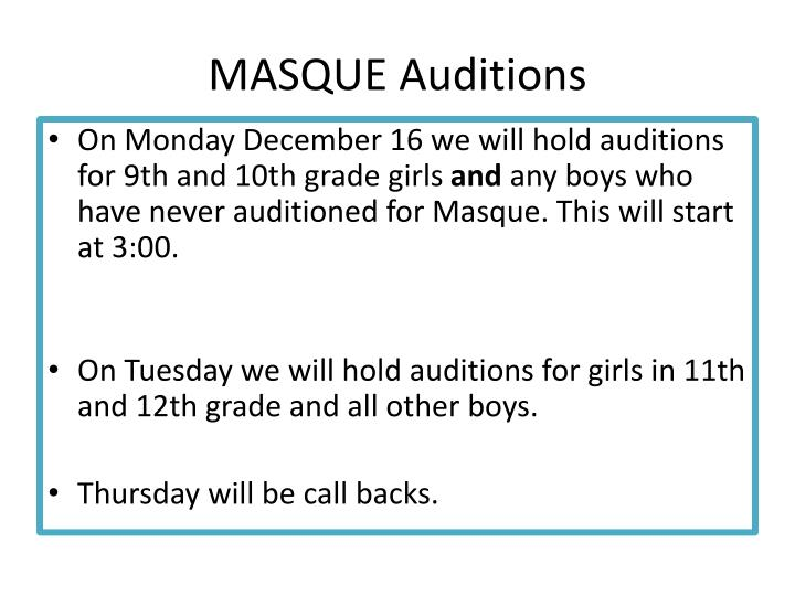 MASQUE Auditions
