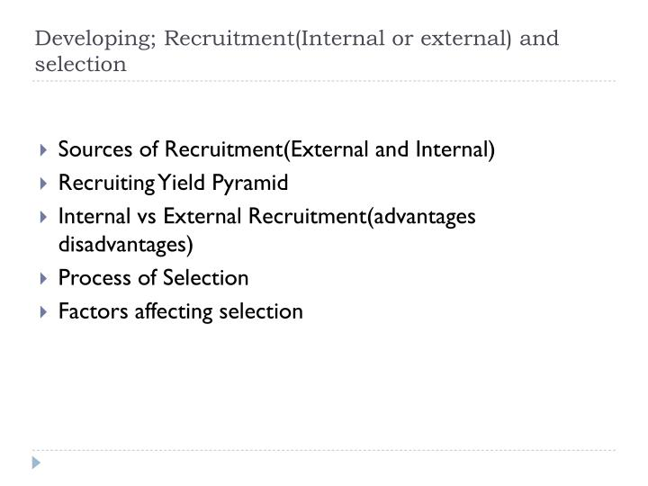 Developing; Recruitment(Internal or external) and selection