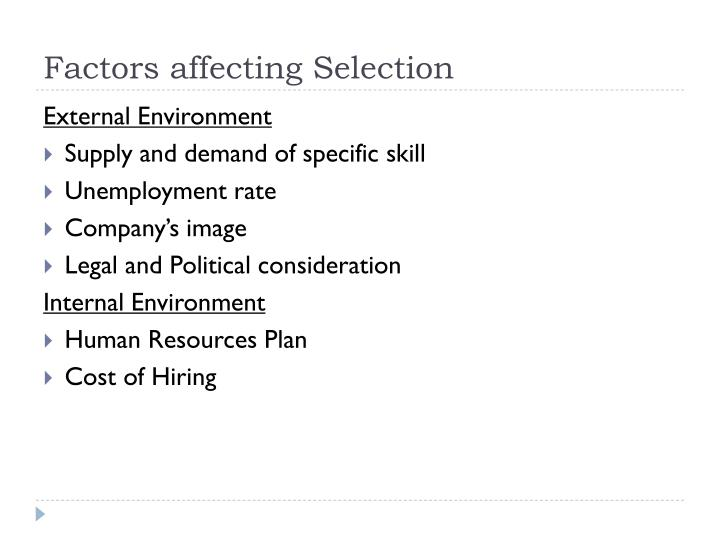 Factors affecting Selection