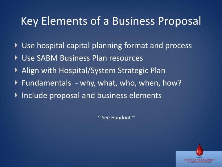 Key elements of a business proposal