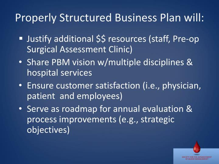 Properly Structured Business Plan will: