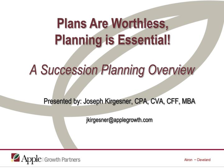 a succession planning overview n.