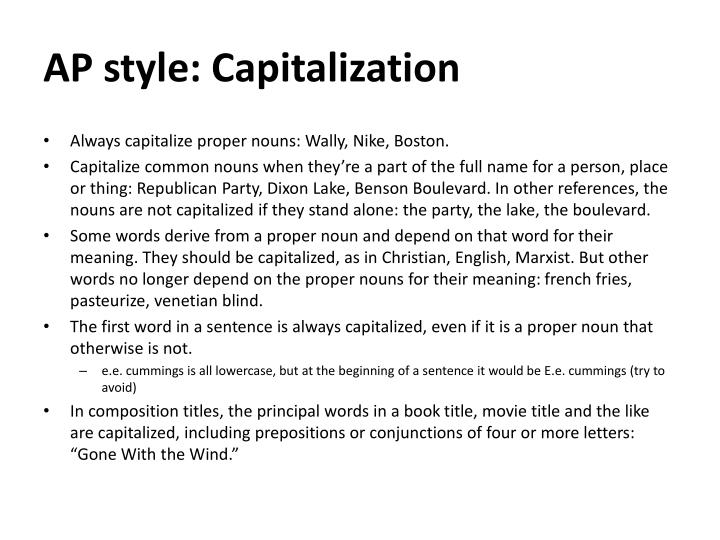 AP style: Capitalization