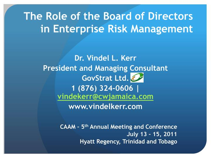 the role of board in risk management