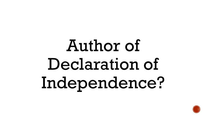 Author of Declaration of Independence?