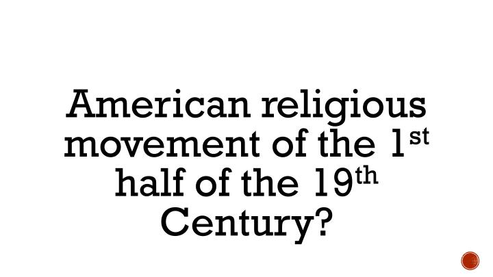 American religious movement of the 1