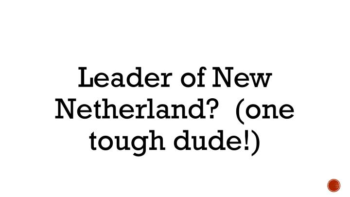 Leader of New Netherland?  (one tough dude!)