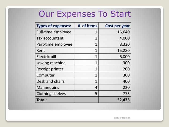 Our Expenses To Start