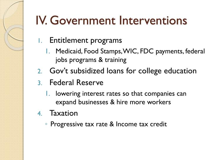 IV. Government Interventions