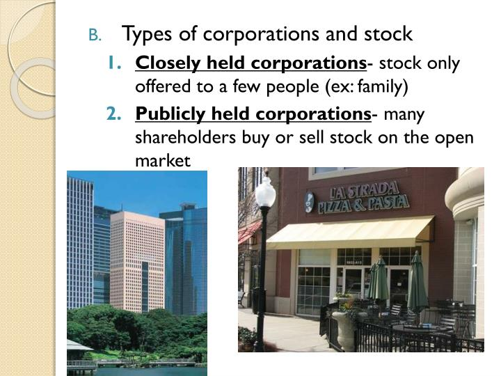 Types of corporations and stock