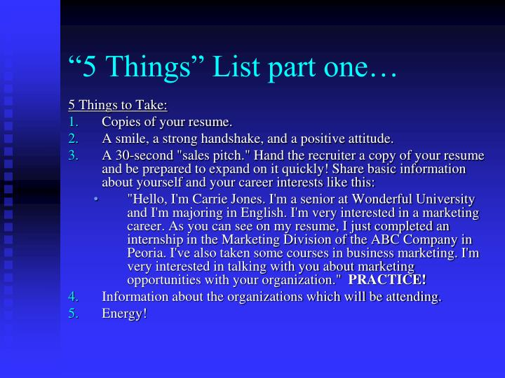 """5 Things"" List part one…"