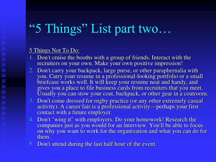 """5 Things"" List part two…"