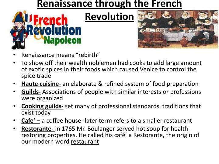 Renaissance through the French Revolution