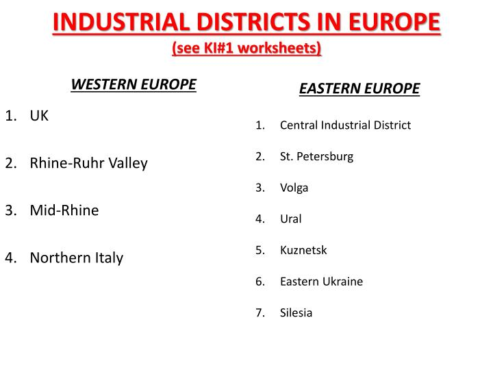 INDUSTRIAL DISTRICTS IN EUROPE