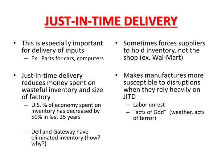 JUST-IN-TIME DELIVERY