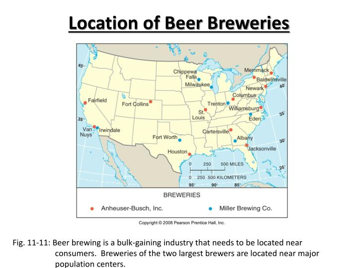 Location of Beer Breweries