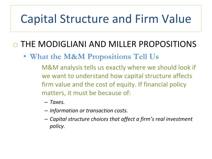 capital structure policies A firm's capital structure is the composition or 'structure' of its liabilities for example, a firm that has $20 billion in equity and $80 billion in debt is said to be 20% equity-financed and 80% debt-financed.