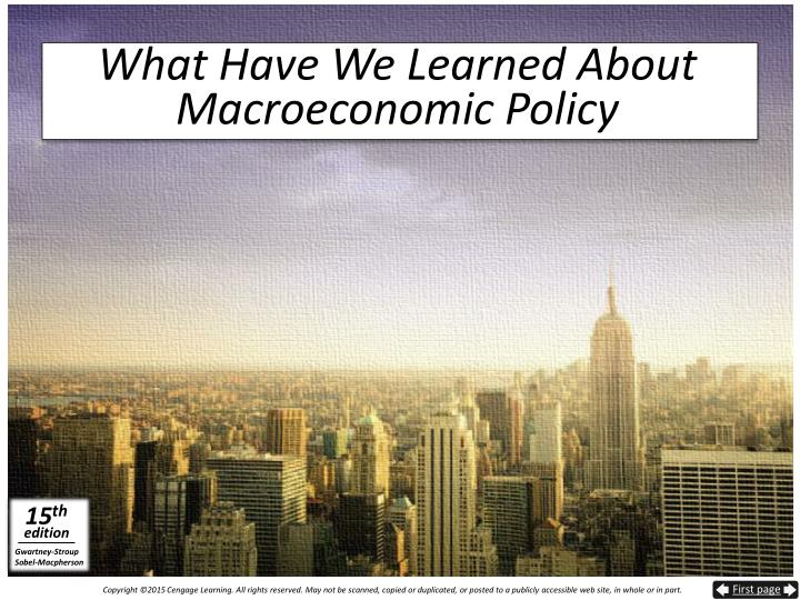 What Have We Learned About Macroeconomic Policy