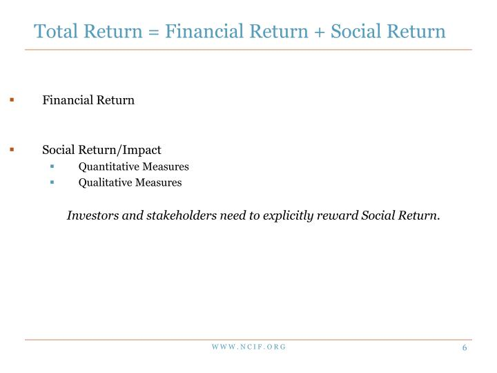 Total Return = Financial Return + Social Return