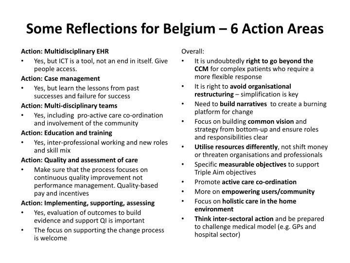 Some Reflections for Belgium – 6 Action Areas