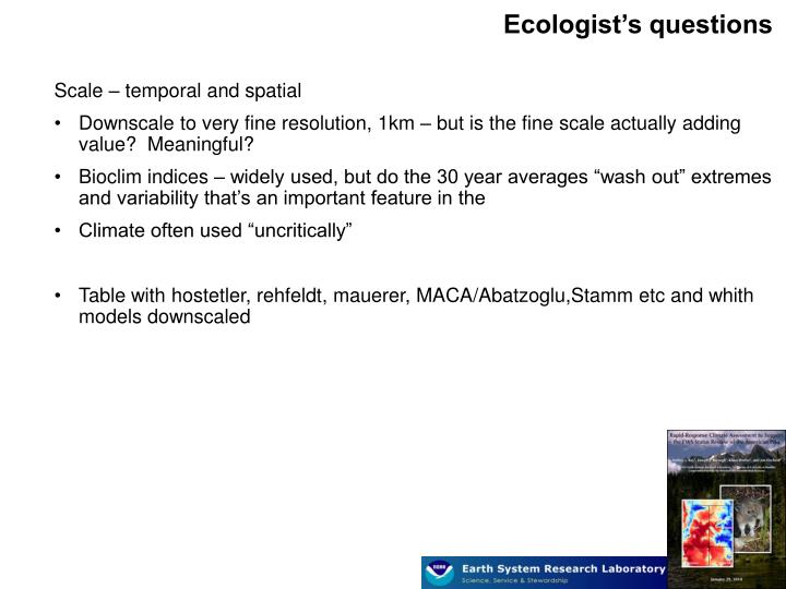 Ecologist's questions