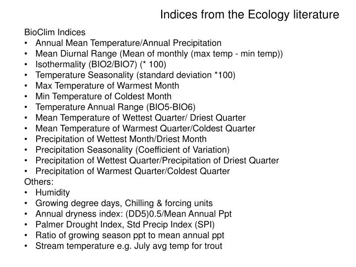 Indices from the ecology literature