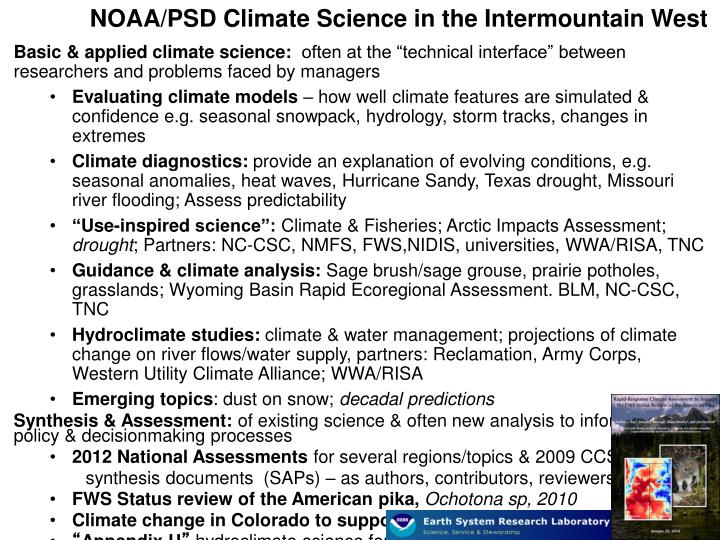 NOAA/PSD Climate Science in the Intermountain West