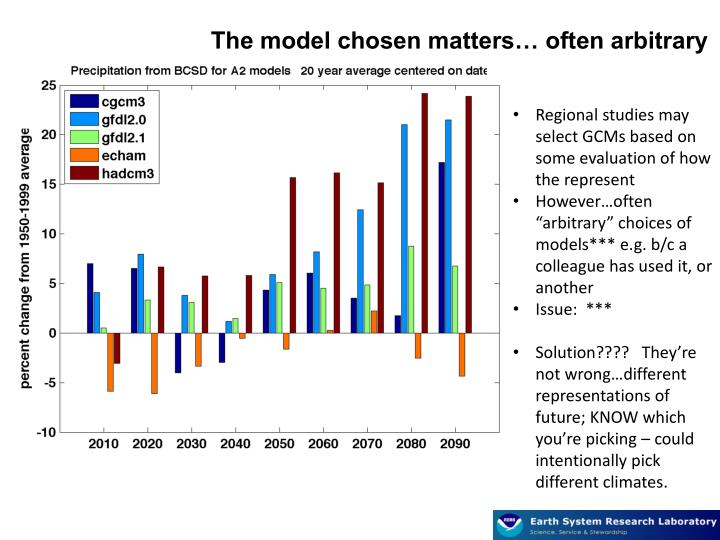 The model chosen matters… often arbitrary