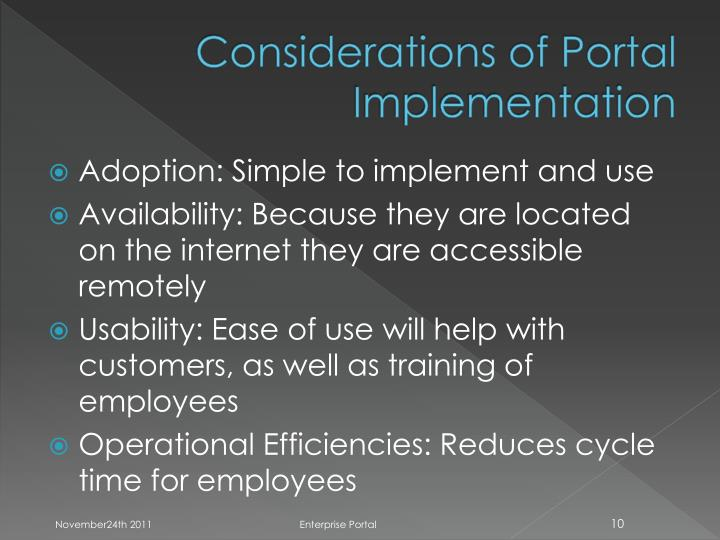 Considerations of Portal Implementation