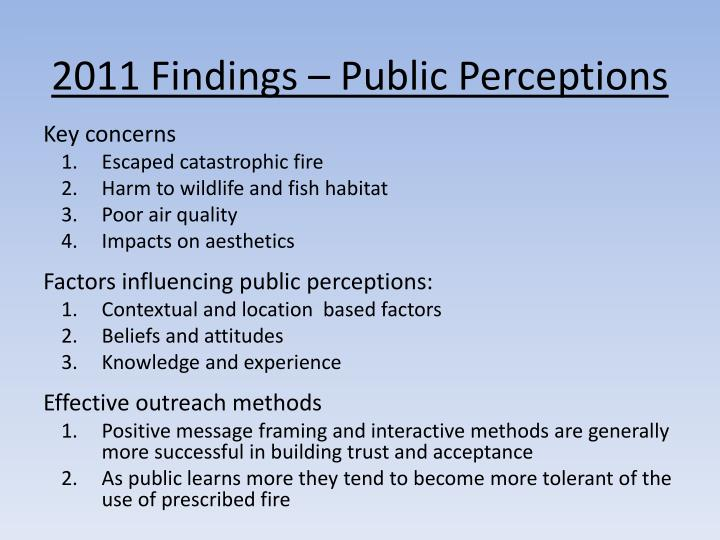 2011 Findings – Public Perceptions