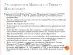 provisions for medication therapy management