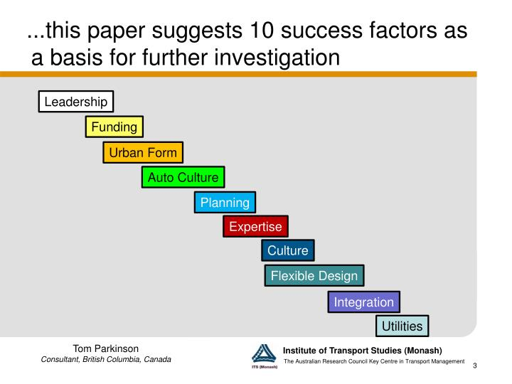 This paper suggests 10 success factors as a basis for further investigation