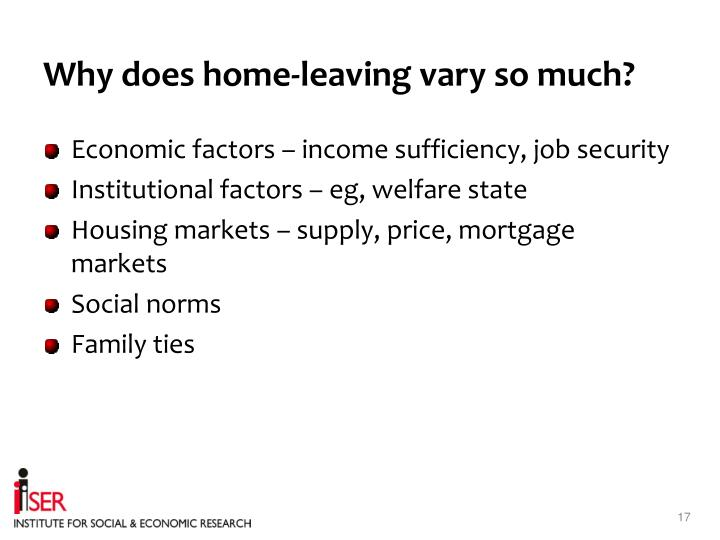 Why does home-leaving vary so much?