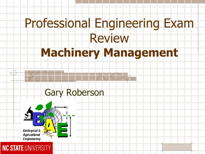 professional engineering exam review machinery management n.