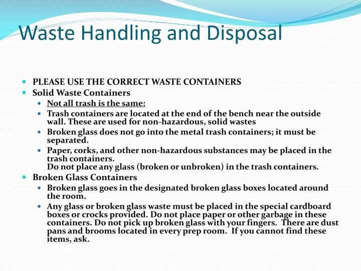 Waste Handling and Disposal