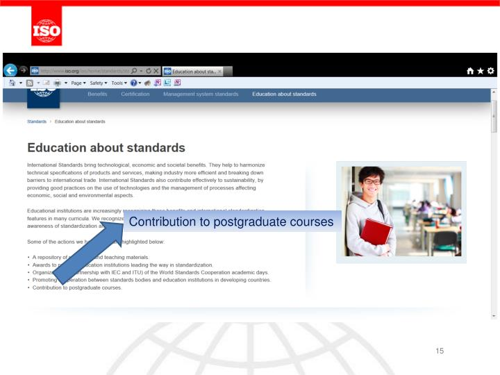 Contribution to postgraduate courses