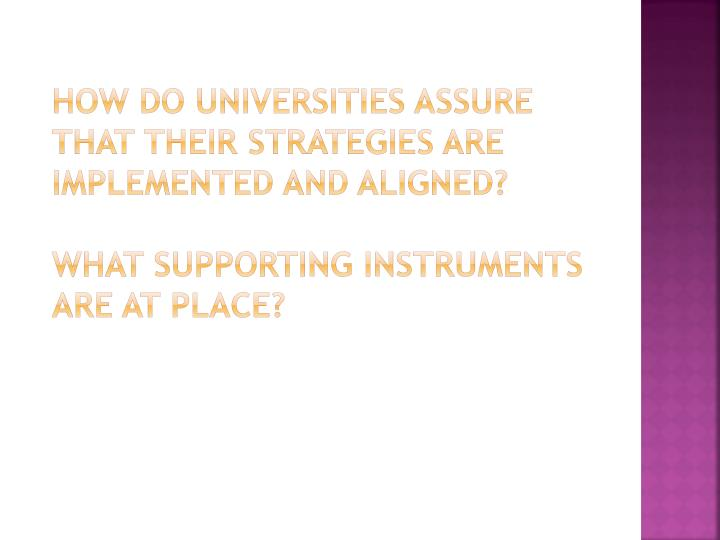 How do universities assure that their strategies are implemented and aligned?