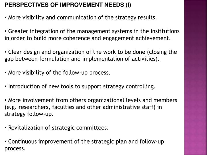 PERSPECTIVES OF IMPROVEMENT