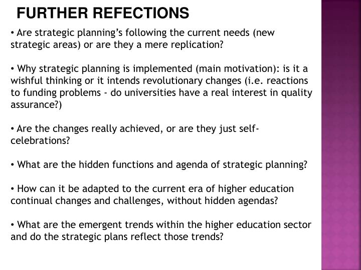 FURTHER REFECTIONS