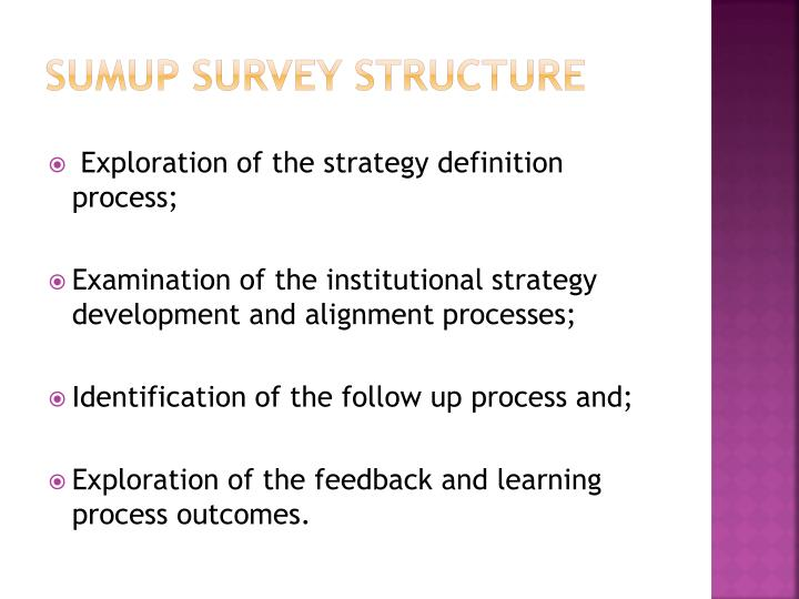 SUMUP Survey structure