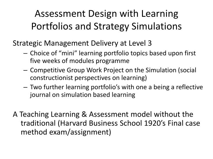 Assessment Design with Learning Portfolios and