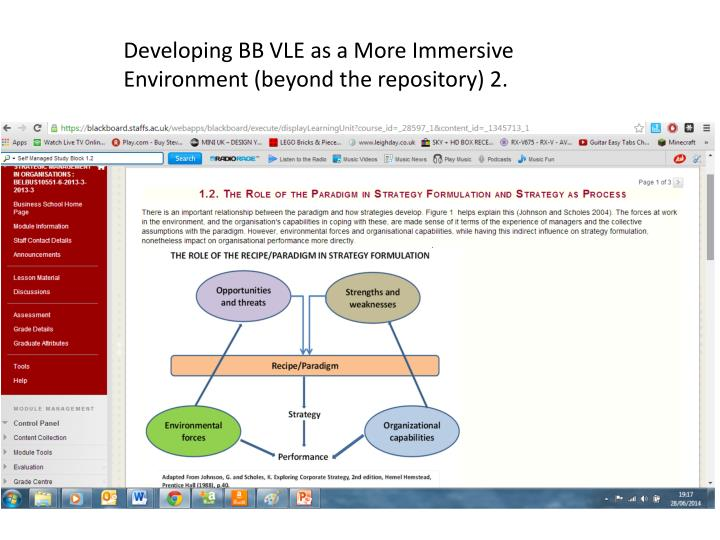 Developing BB VLE as a More Immersive Environment (beyond the repository) 2.