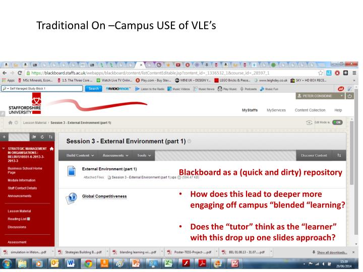 Traditional On –Campus USE of VLE's