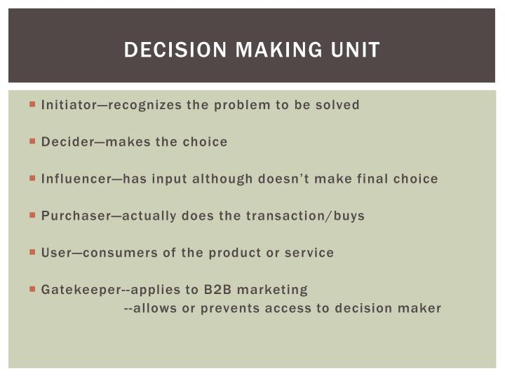 Decision Making Unit
