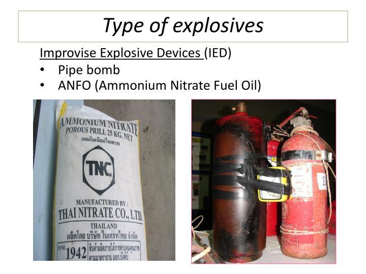 Type of explosives