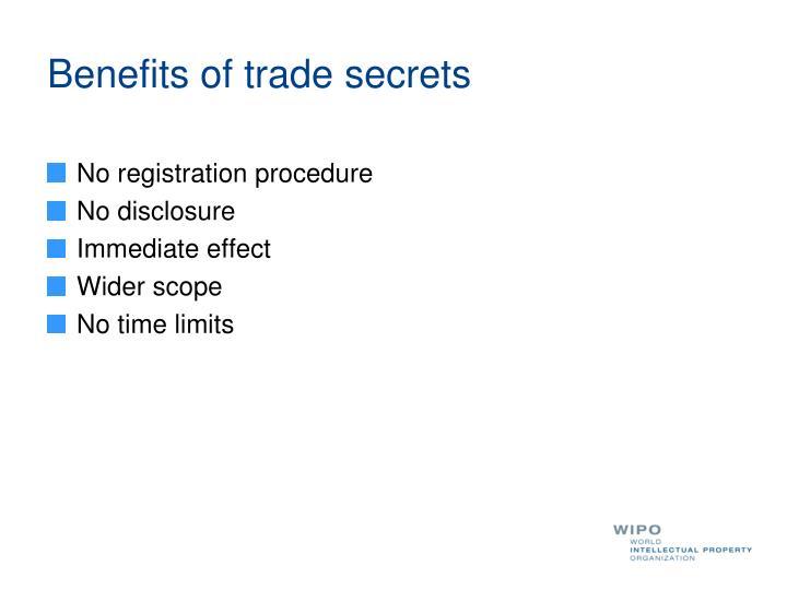 Benefits of trade secrets